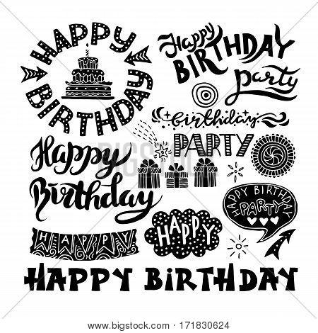 Set of Happy Birthday Hand Drawn Calligraphy Pen Brush Vector Design