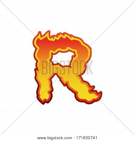 Letter R Fire. Flames Font Lettering. Tattoo Alphabet Character. Fiery Sign Alphabet