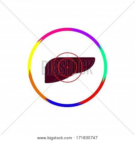Vector illustration. The emblem logo. The liver is under the gun. Outline circle of seven colors. Different colors.
