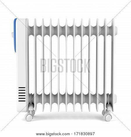 Oil-filled radiator heater on white background, 3D illustration
