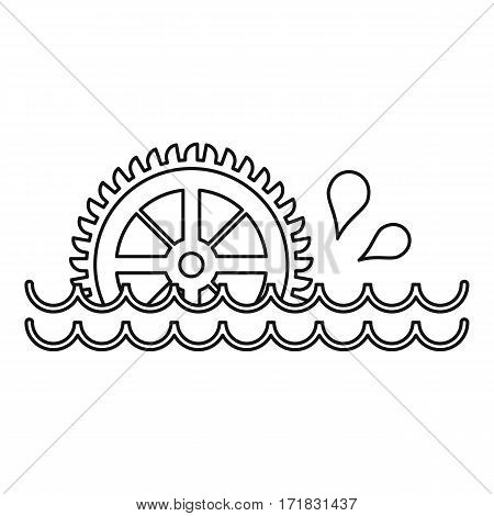 Old water wheel icon. Outline illustration of old water wheel vector icon for web