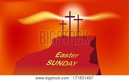Vector mountain Calvary with three crosses with sky and sun