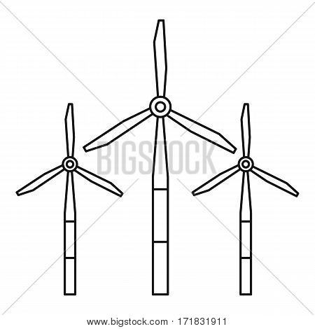 Windmills for renewable electric energy production icon. Outline illustration of windmills for renewable electric energy production vector icon for web