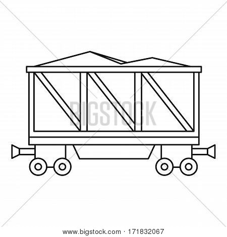 Loaded railway wagon icon. Outline illustration of loaded railway wagon vector icon for web