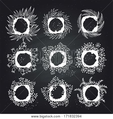 Collection of ornamental vector floral frames. Hand drawing