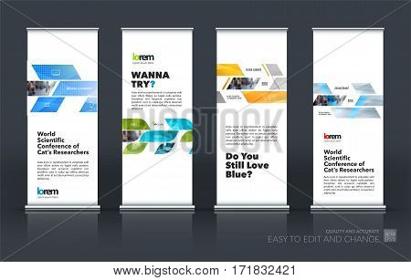 Abstract business vector set of modern roll Up Banner stand design template with many colourful rectangles, soft shapes for exhibition, show, exposition, expo, presentation, parade, events.
