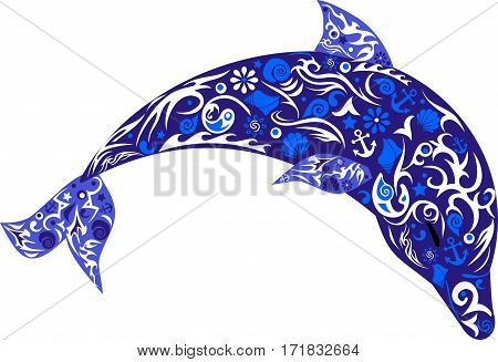 dolphin in the jump, a marine animal, the drawing on fish, vector illustrations which is jumping up a mammal, the sea of fauna, a wild animal, attracting the picture, sea shells, a pattern with flowers