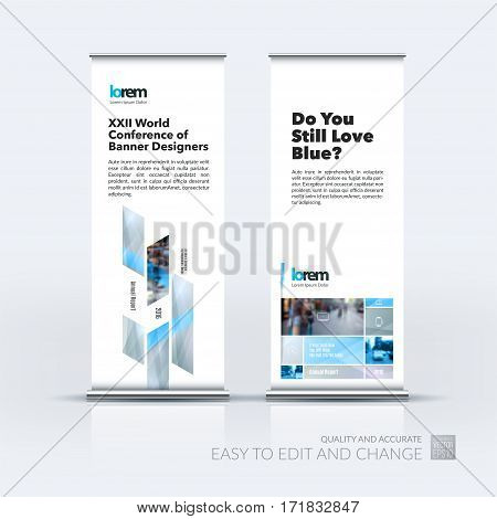 Abstract business vector set of modern roll Up Banner stand design template with many grey rectangles, soft shapes for exhibition, show, exposition, expo, presentation, parade, events.