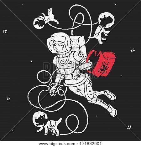Girl With Dogs in Space Vector Illustration eps 8 file format