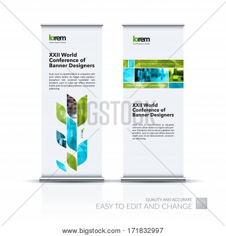 Abstract business vector set of modern roll Up Banner stand design template with many green rectangles, soft shapes for exhibition, show, exposition, expo, presentation, parade, events.