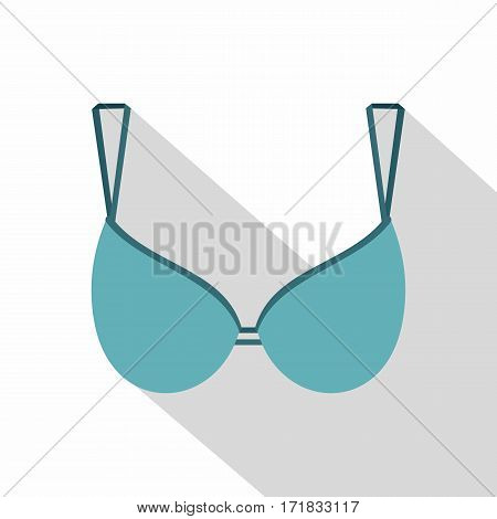Blue bra icon. Flat illustration of blue bra vector icon for web isolated on white background