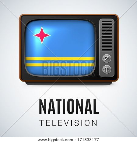 Vintage TV and Flag of Aruba as Symbol National Television. Tele Receiver with Aruban flag