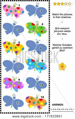 Visual puzzle: Match the pictures of multicolor butterflies to their shadows (plus same task text in Russian and German). Answer included.