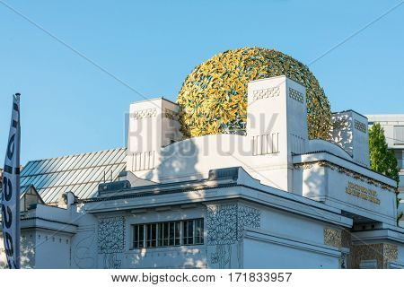 VIENNA, AUSTRIA-April 20, 2016 : Vienna Secession Building was formed in 1897 by a group of Austrian artists. Vienna Secession on April 20, 2016.Vienna, Austria
