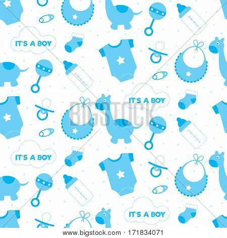Seamless background of blue toys and objects for a baby boy