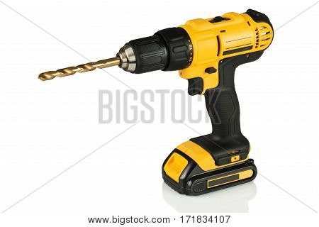 cordless drill with a drill on a white background
