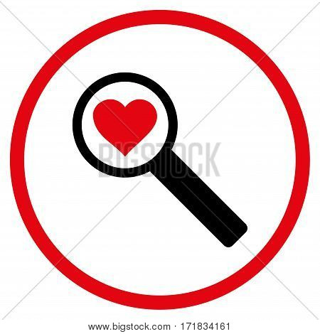 Find Love rounded icon. Vector illustration style is flat iconic bicolor symbol inside circle intensive red and black colors white background.