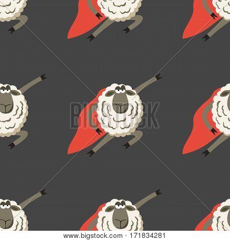 Stubborn Lamb superhero with red cloak. Vector illustration of super hero sheep seamless pattern.