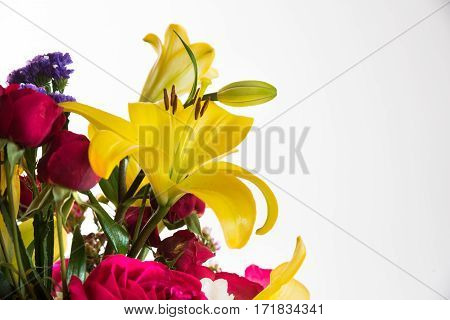 Mixed flowers bouquet on white - Lily, Roses, orchids and hydrangea