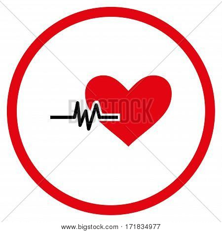 Heart Pulse rounded icon. Vector illustration style is flat iconic bicolor symbol inside circle intensive red and black colors white background.