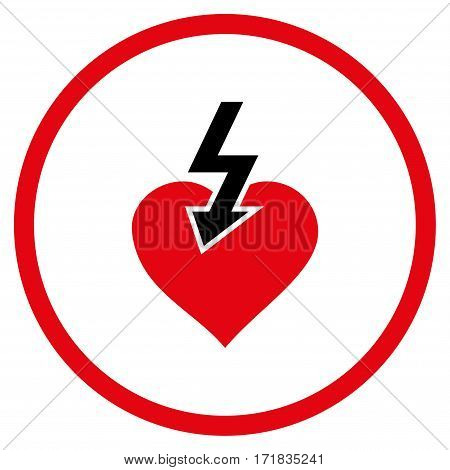 Heart Shock Strike rounded icon. Vector illustration style is flat iconic bicolor symbol inside circle intensive red and black colors white background.