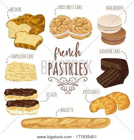 French pastries collection. Brioche, macaroons, croissants, baguette, eclairs, paris brest, ganache, napoleon cakes. Isolated elements. Hand drawn vector illustration in watercolor style