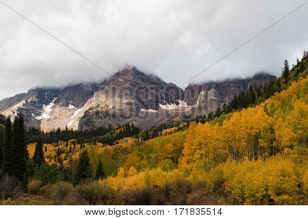 a scenic autumn landscape at maroon bells Aspen Colorado