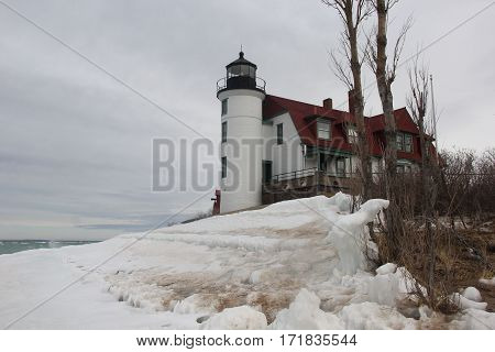 A cloudy winter day at Point Betsie Lighthouse , Michigan