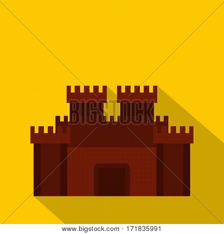 Fortress with gate icon. Flat illustration of fortress with gate vector icon for web isolated on yellow background