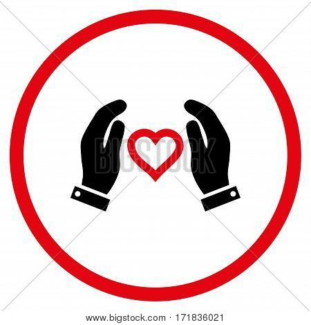 Love Care Hands rounded icon. Vector illustration style is flat iconic bicolor symbol inside circle intensive red and black colors white background.