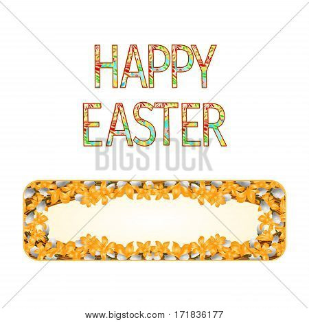 Banner Happy easter with willow and forsythia vintage vector illustration
