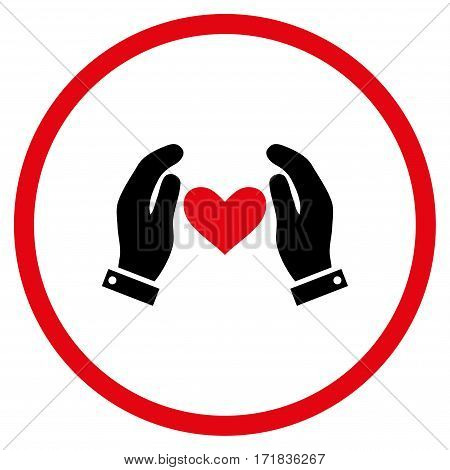 Love Heart Care Hands rounded icon. Vector illustration style is flat iconic bicolor symbol inside circle intensive red and black colors white background.