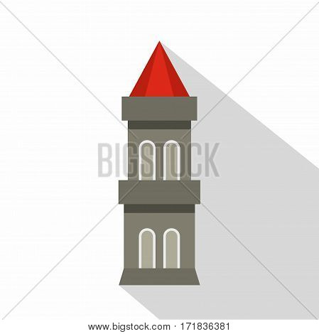 Medieval battle tower icon. Flat illustration of medieval battle tower vector icon for web isolated on white background