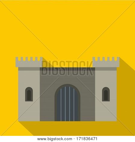 Ancient fortress icon. Flat illustration of ancient fortress vector icon for web isolated on yellow background