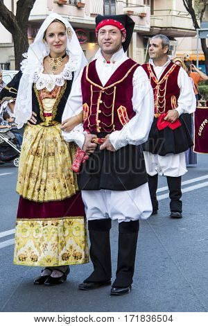 QUARTU S.E., ITALY - September 15, 2012: Parade of the Wine Festival 2012 - Sardinia - parade in traditional Sardinian costume