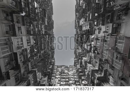 Black and White Hong Kong city apartment from bottom view