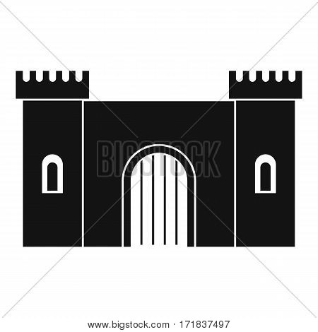 Fortress with gate icon. Simple illustration of fortress with gate vector icon for web