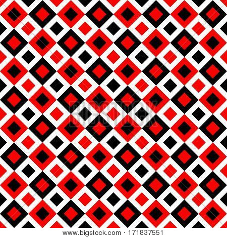 Seamless geometric pattern with black and red rhombus.
