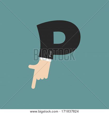 P Letter Businessman Hand Font. It Shows Finger Print. Arm Symbol Alphabet. Sign Of Abc