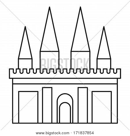 Kingdom palace icon. Outline illustration of kingdom palace vector icon for web