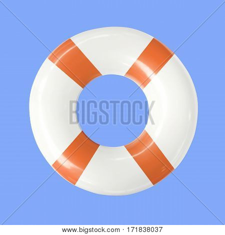 Life buoy or swim ring isolated on blue background with clipping path.
