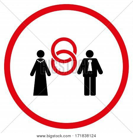 Marriage Persons rounded icon. Vector illustration style is flat iconic bicolor symbol inside circle intensive red and black colors white background.