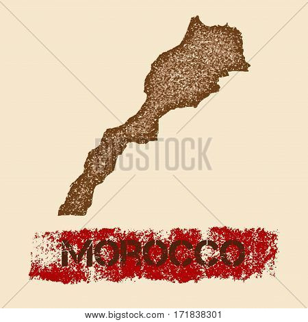Morocco Distressed Map. Grunge Patriotic Poster With Textured Country Ink Stamp And Roller Paint Mar