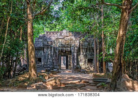One of gateways of gopura at Ta Som jungle temple of Angkor, Cambodia
