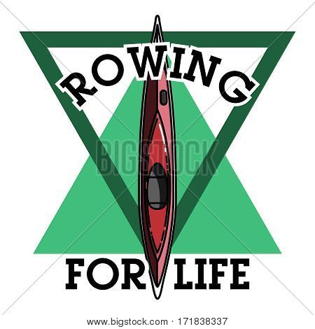 Color vintage rowing emblem, label, badge and design elements. Vector illustration, EPS 10