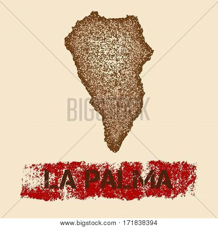 La Palma Distressed Map. Grunge Patriotic Poster With Textured Island Ink Stamp And Roller Paint Mar
