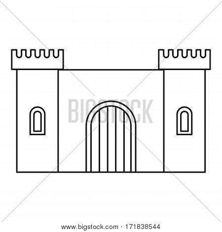 Old fortress towers icon. Outline illustration of old fortress towers vector icon for web