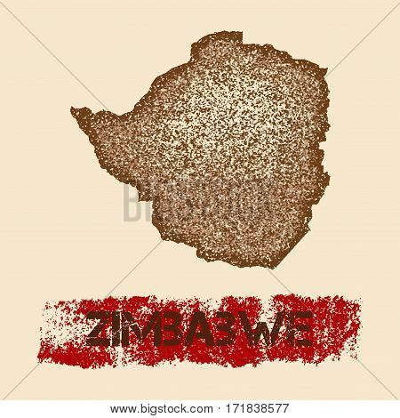 Zimbabwe Distressed Map. Grunge Patriotic Poster With Textured Country Ink Stamp And Roller Paint Ma