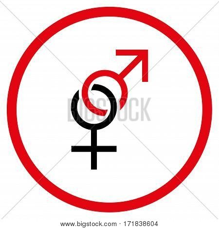 Sex Symbol rounded icon. Vector illustration style is flat iconic bicolor symbol inside circle intensive red and black colors white background.