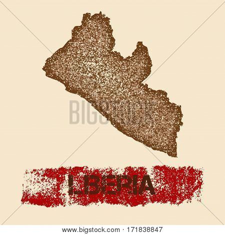 Liberia Distressed Map. Grunge Patriotic Poster With Textured Country Ink Stamp And Roller Paint Mar